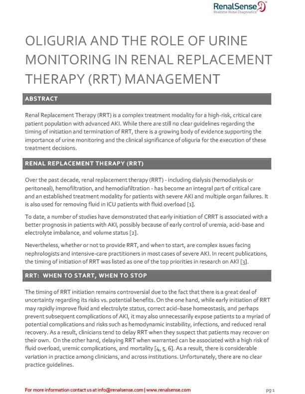 White Paper:<br /> Oliguria and the Role of Urine Monitoring in RRT Management