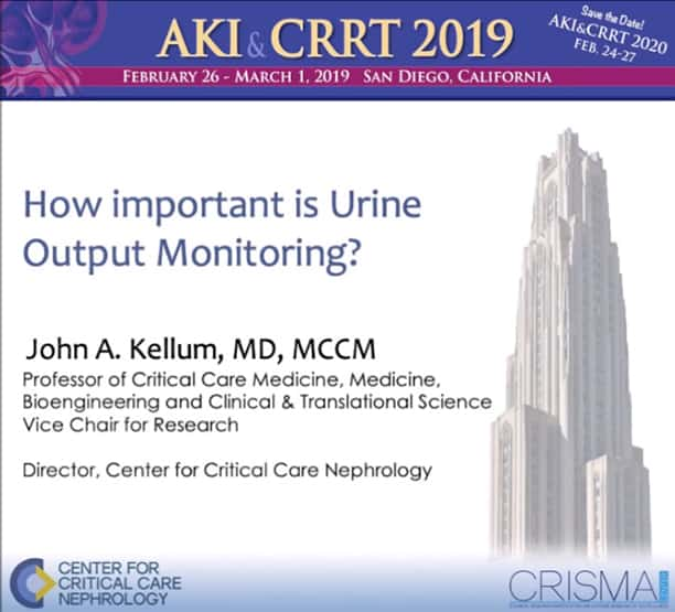 John Kellum lecture: How Important is Urine Monitoring?